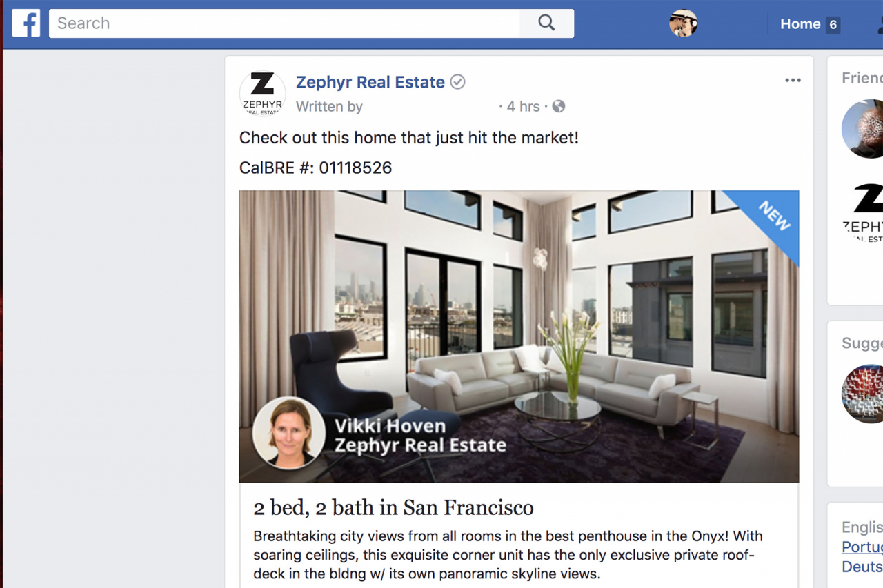 Zephyr Real Estate Launches Facebook Ad Platform