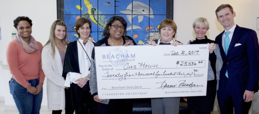 Beacham & Company, REALTORS recently donated $25,536 to Our House women's shelter