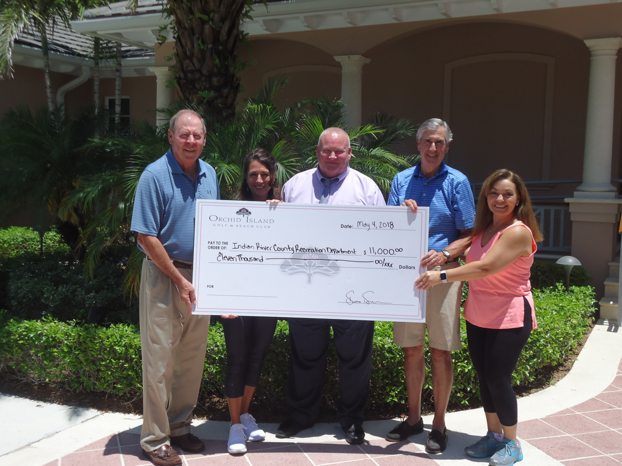Pictured from left to right:  Jim Gaede, (Orchid Island President of the Board of Governors), Denise Duda (OI Director of Fitness, Wellness & Spa), Mike Redstone (Recreation Director of the IRC Recreation Department), Bruce Morrison (OI Tennis & Fitness  Committee Chair) and Micki Weilbaker (OI Fitness Manager)