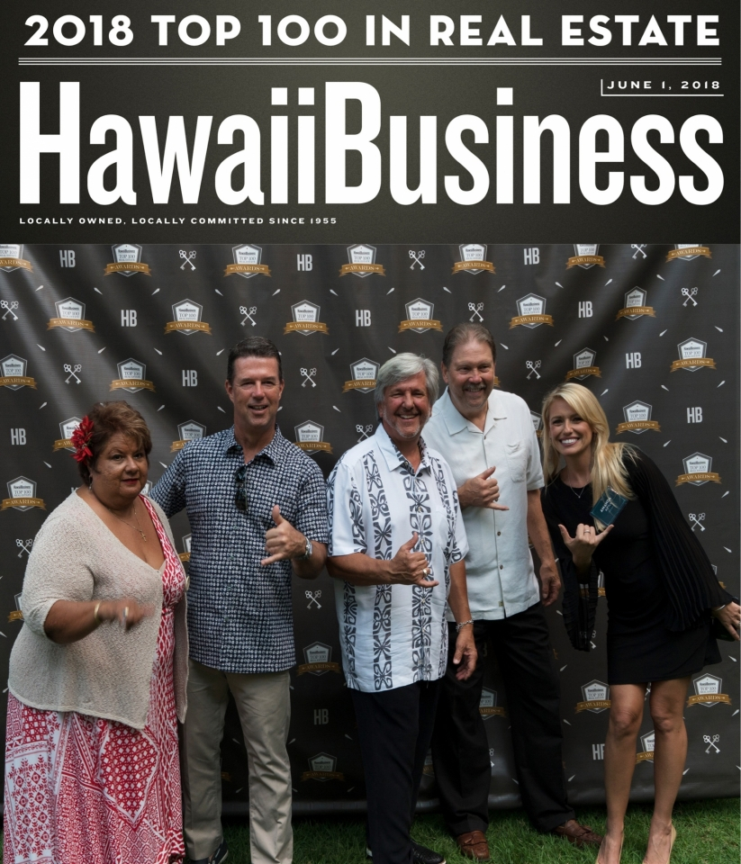Pictured left to right: Lydia Pedro R(B), Brad MacArthur R(B), Tom Tezak R(B), Roger Pleski R(S) and Amanda Kittle R(S) were honored during Hawaii Business Magazine's 12th Annual Top 100 Realtors Awards gala at the Royal Hawaiian Resort on Friday, June 1. 