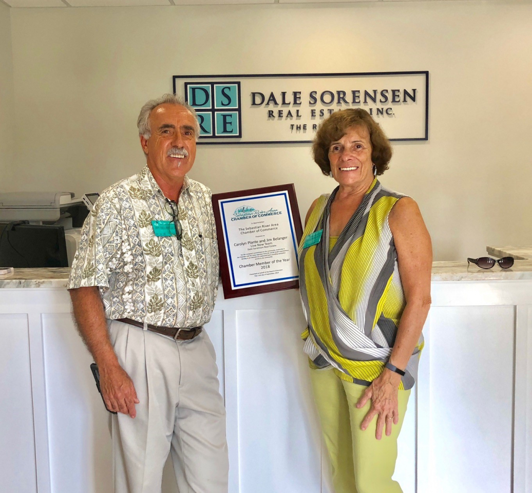 Jim Belanger and Carolyn Plante were on hand to receive the Sebastian Chamber of Commerce Member of the Year, 2018 Award