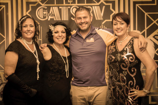Pictured left to right: Jennifer Penfield, Donna Browning, Tony Zazza and Mary Brands in costume at the Great Gatsby themed evening to support the Jingle Jet project