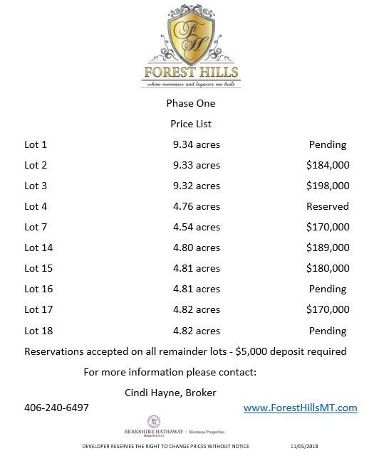 Forest Hills Montana Price List