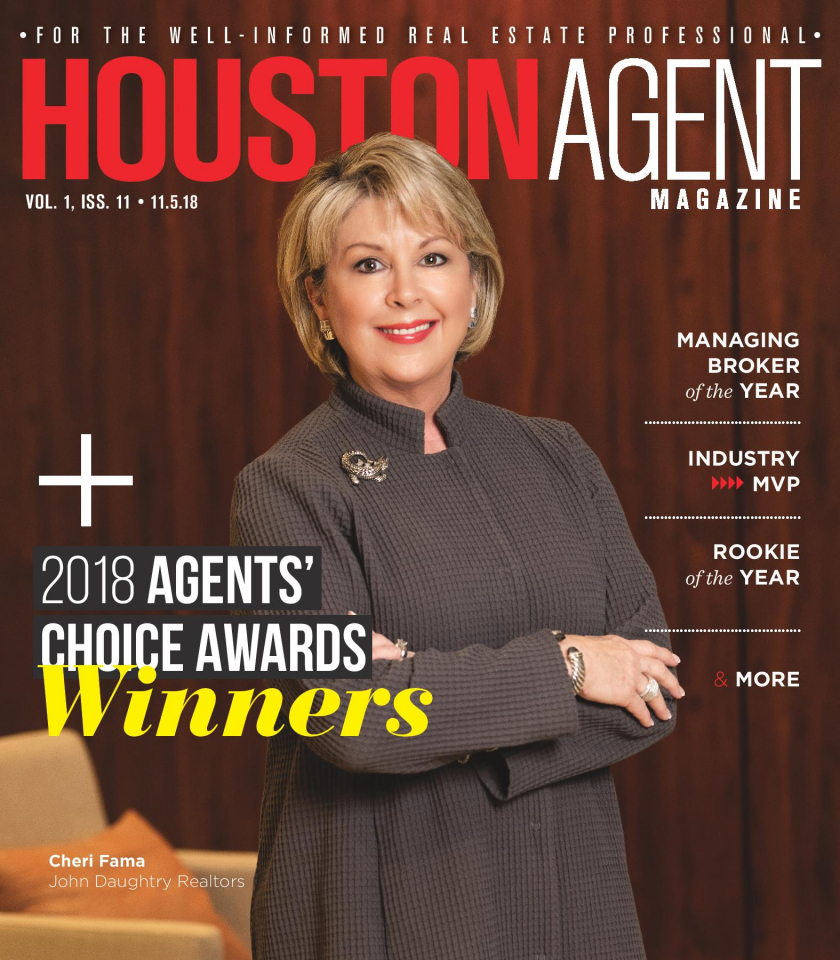 Cheri Fama was awarded Managing Broker of the Year per Houston Agent Magazine's Agents' Choice Awards