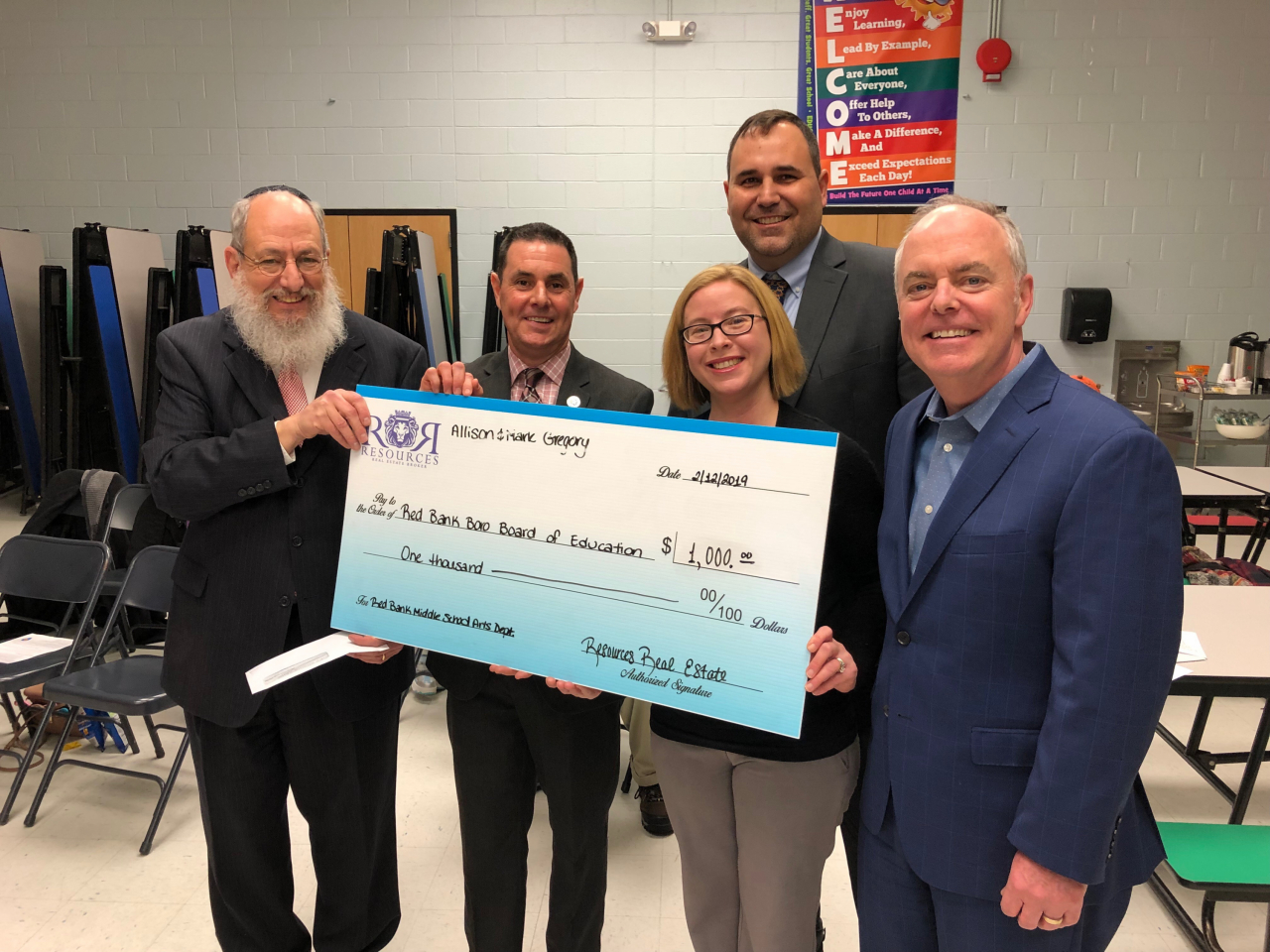 Resources Real Estate Agents to Donate $1,000 to Red Bank Middle School Arts Department