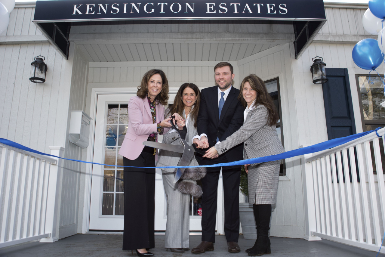 New York-based Triangle Equities recently launched the sales at Kensington Estates, a 55-and-over exclusive, luxury community located in Woodbury with a ribbon cutting and groundbreaking ceremony. Daniel Gale Sotheby's International Realty is the exclusive marketing and sales agent on the project, with occupancy expected by spring 2020. Pictured here (l-r) Daniel Gale Sotheby's International Realty's CEO Deirdre O'Connell and associate broker Laura Zambratto; Evan Petracca, assistant project manager, Triangle Equities; and Elysa Goldman, Director of Development, Triangle Equities.