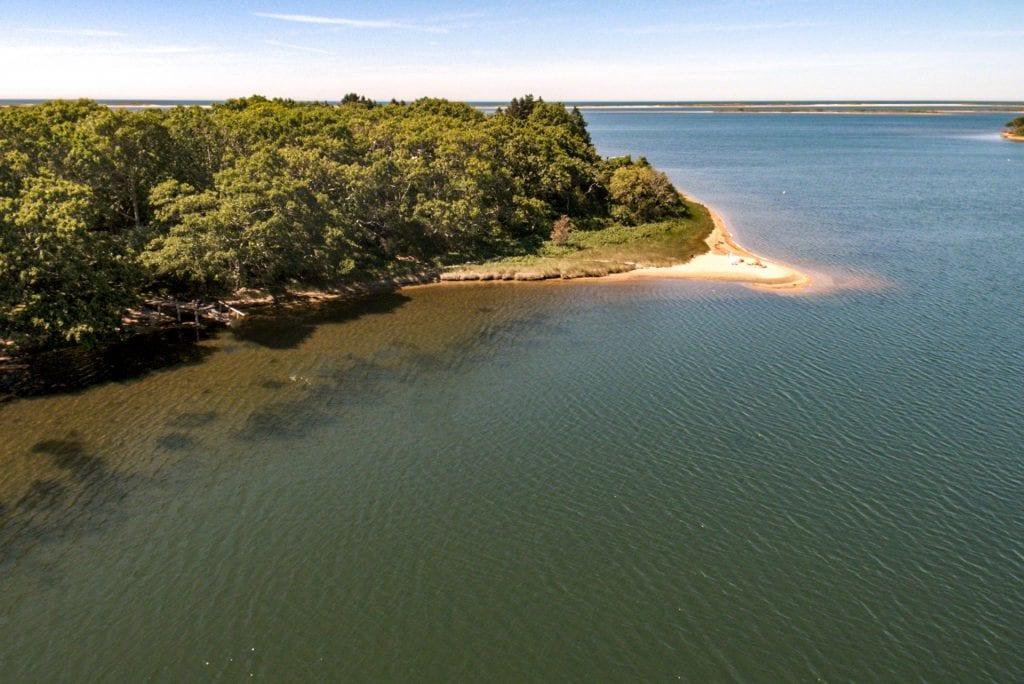 Aerial View Across Edgartown Great Pond Toward Barrier Beach
