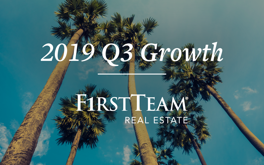 First Team continues to grow and thrive with an 11% increase year-over-year in total closed volume alongside 129 new agents, and 10,369 agent generated leads for Q3 2019