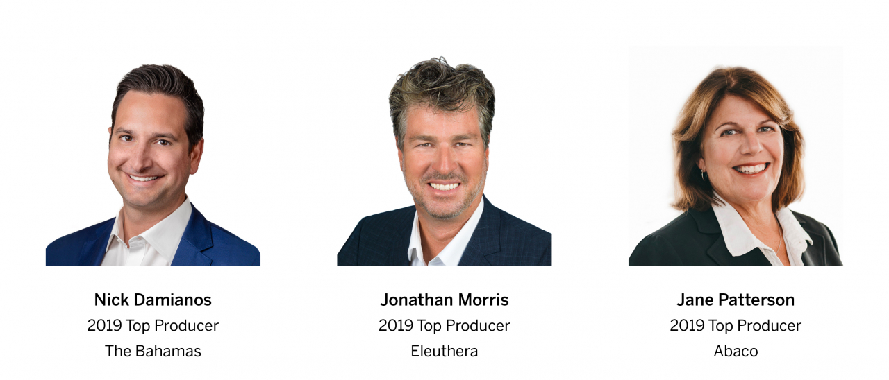 Nick Damianos, 2019 Top Producer The Bahamas, Jonathan Morris, 2019 Top Producer Eleuthera and Jane Patterson, 2019 Top Producer Abaco