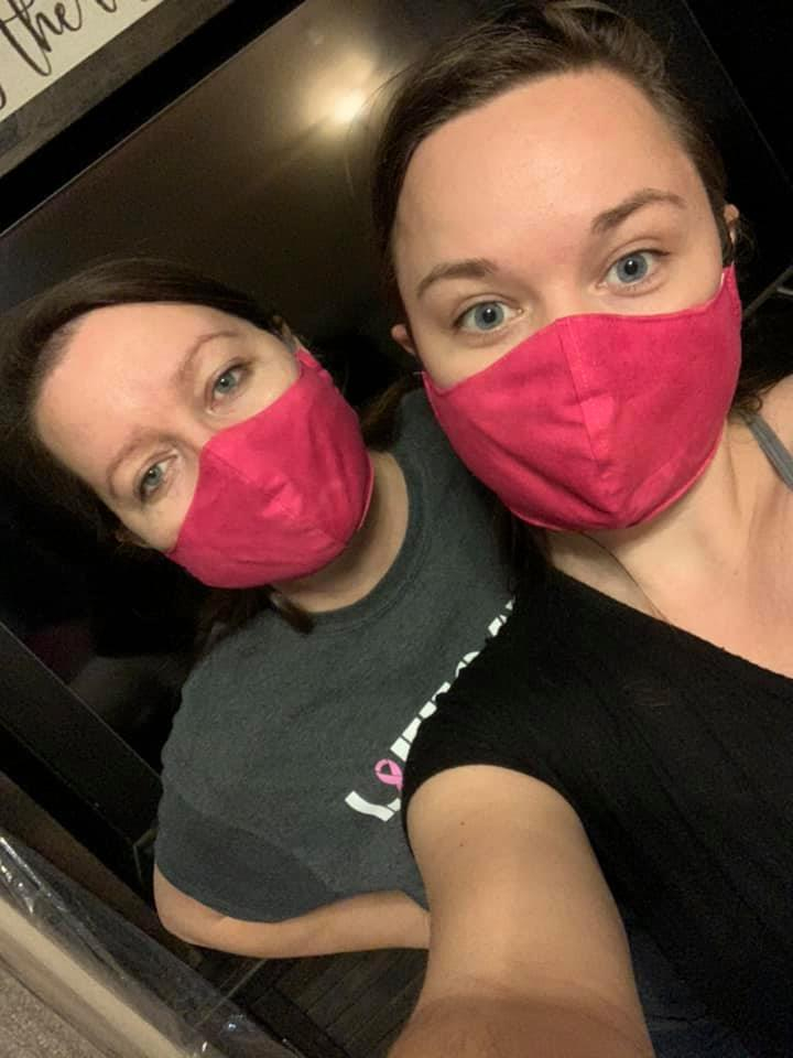 Jennifer and Felicia Bailey wearing their homemade masks.