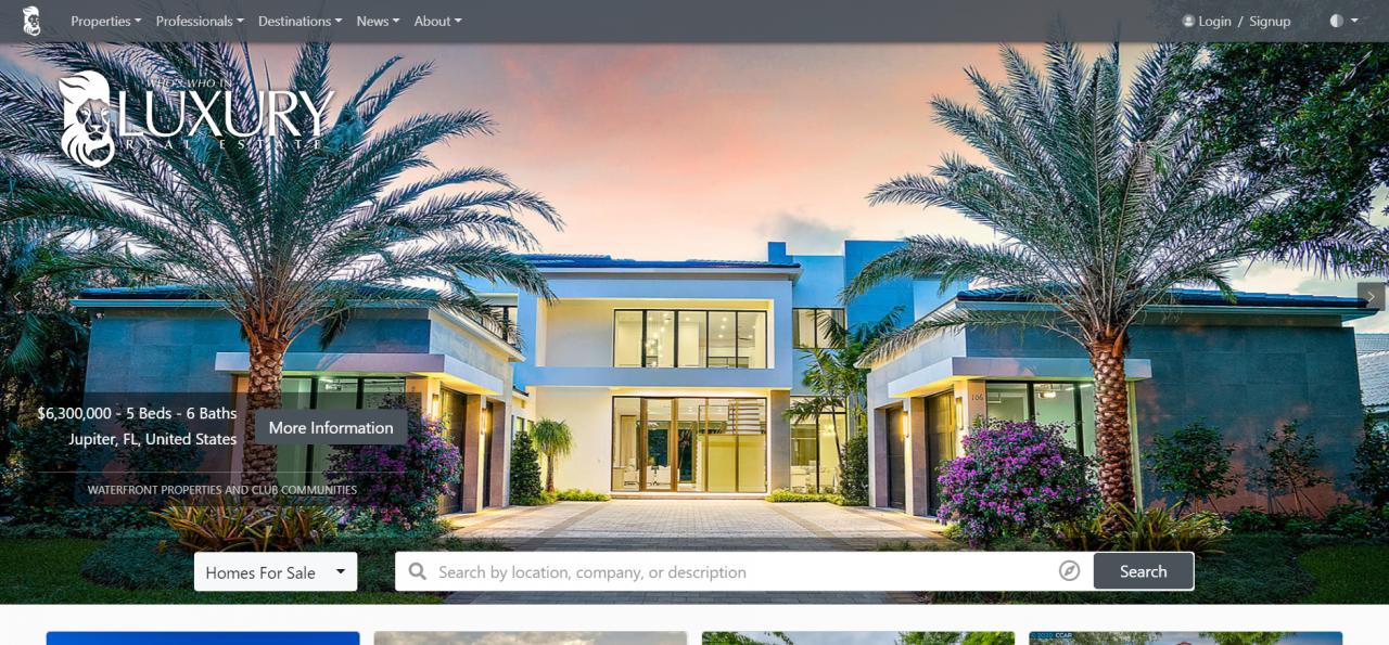 LuxuryRealEstate.com homepage
