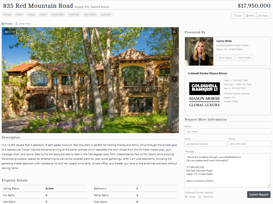 LuxuryRealEstate.com Property Listing