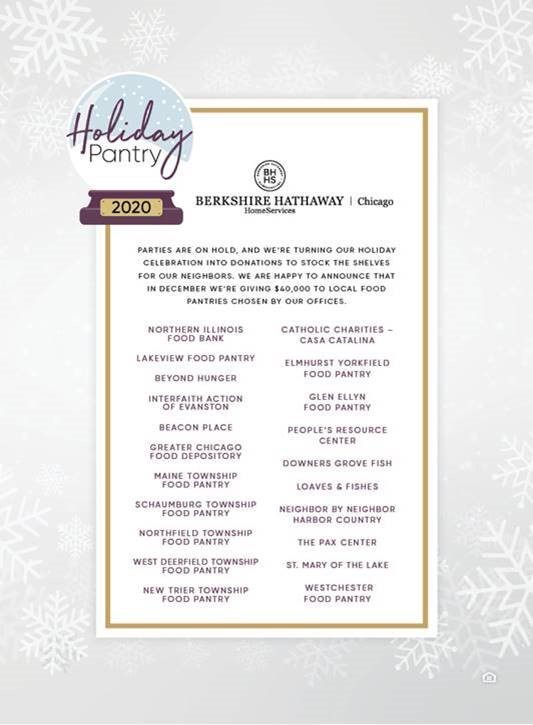 Berkshire Hathaway HomeServices Chicago Donates $40,000 to Local Food Pantries to Replace Holiday Party
