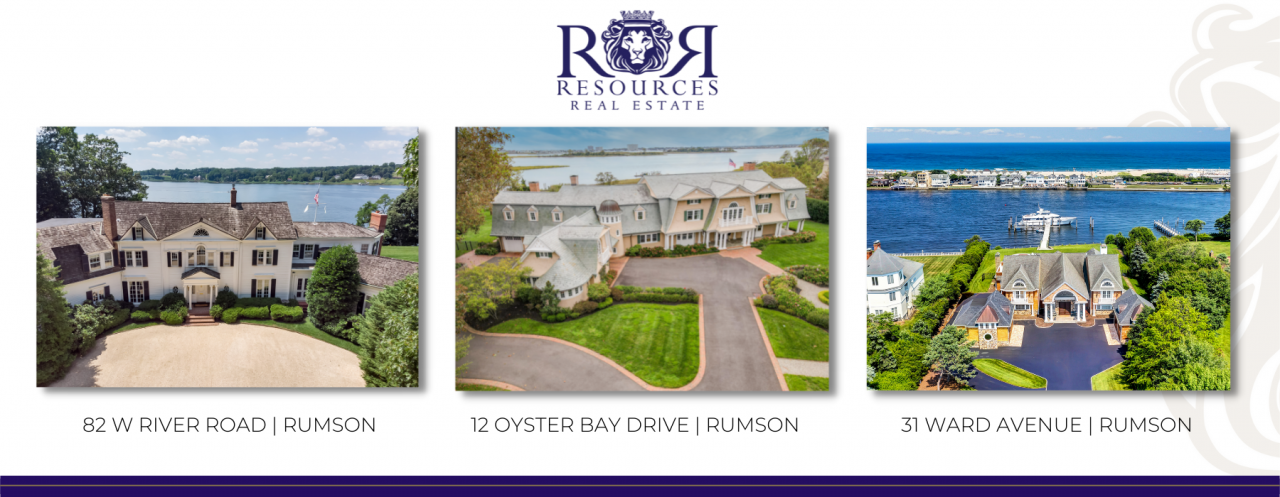 82 W River Road, Rumson, 12 Oyster Bay Drive, Rumson and 31 Ward Avenue, Rumson.